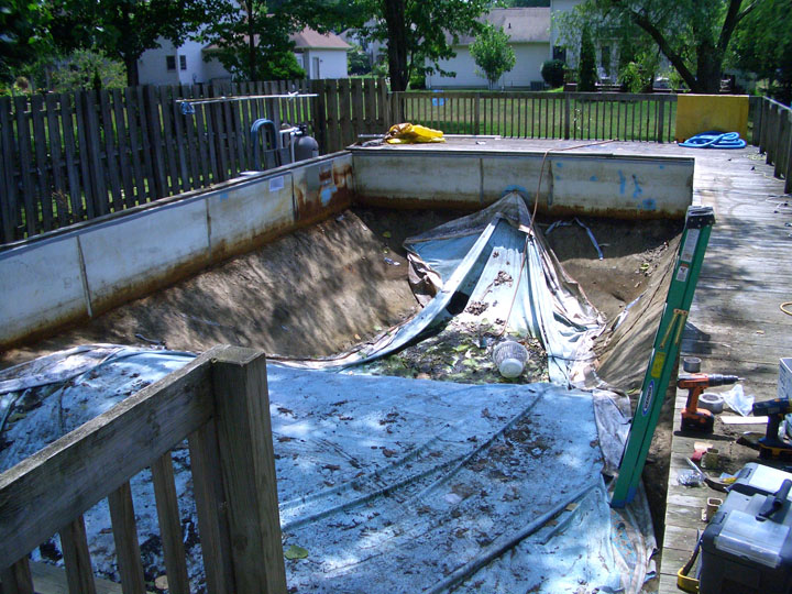 In ground pool needing a new pool liner and repair