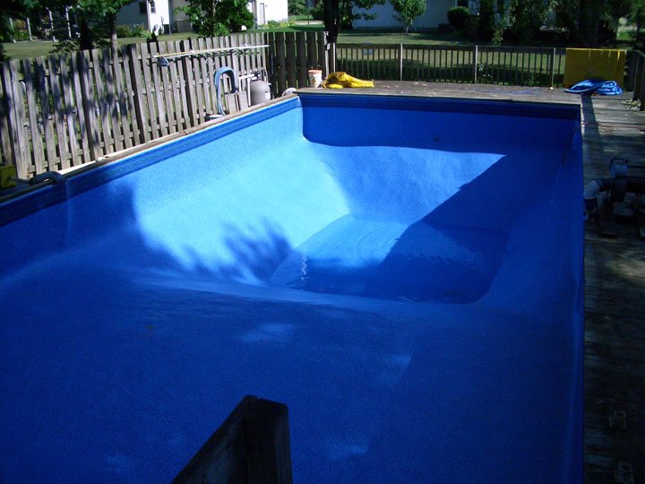 Pool repaired new patio installed